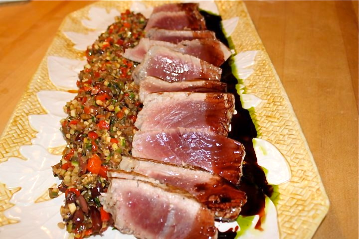Seared Toro with Summer Caponata
