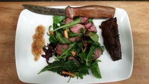 Wild venison with sweet onion dressing
