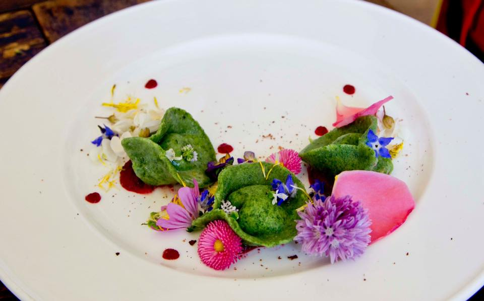 The Grand Prize Winner- Verduno, Italy Local Wild Food Challenge. Green ravioli of stuffed nettle, local Toma Di Murrazano cheese & spring spinach with beet and mint sauce, cocoa bean and seasonal flowers.