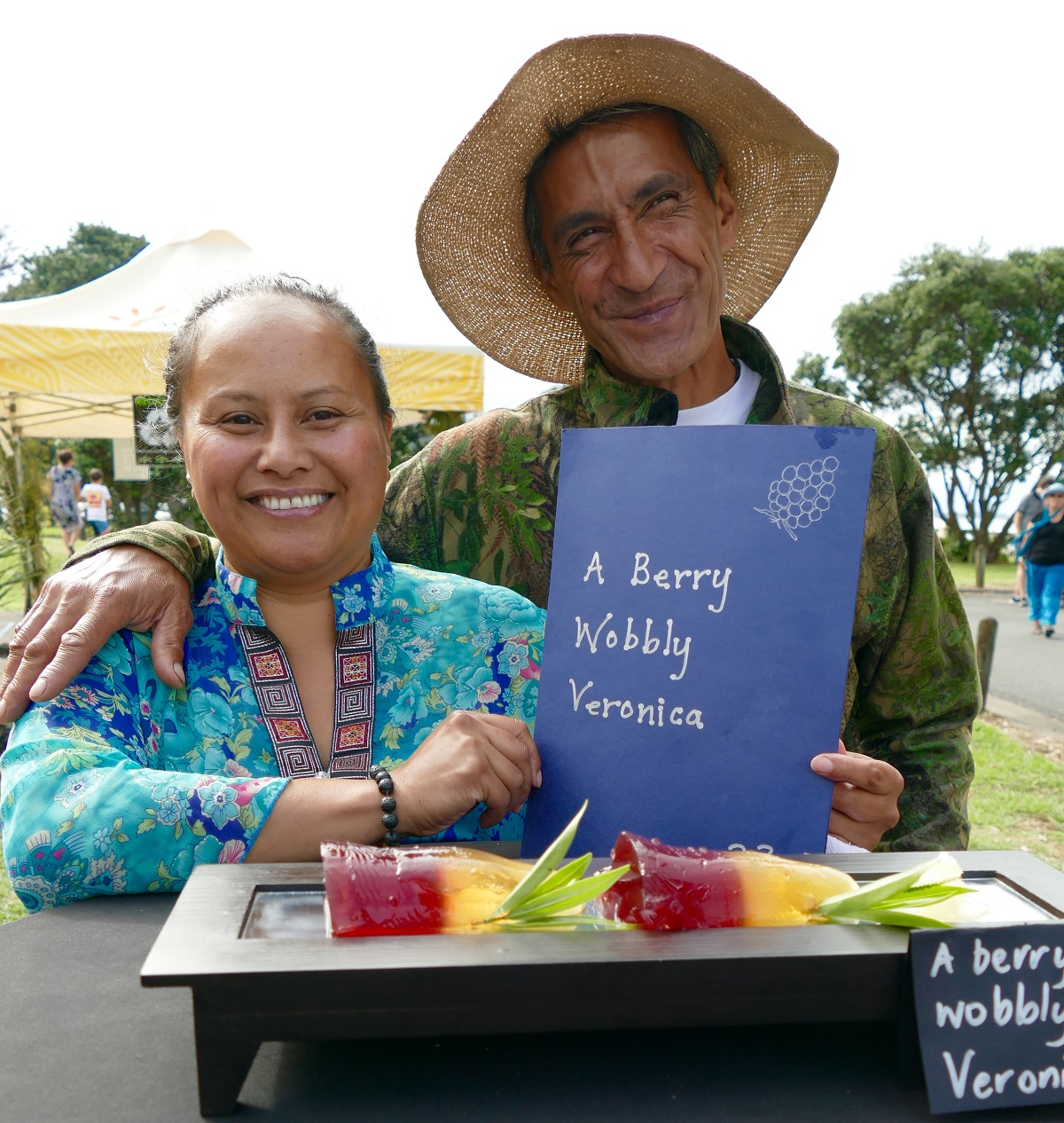 Caroline Johnstone Award - Kay Henare 'A Berry Wobbly Veronica' A plant species once known as Veronica & its Maori name Koromiko Jelly made with Koromiko gathered from the bush & local manuka honey. Homegrown blackberry sauce, drizzled honey and Koromiko chips