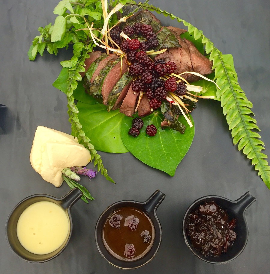 Best from the Land Briar de Punt Taupo wild blackberry venison wrapped in kawakawa leaves & wild lavender goat cheese souffle