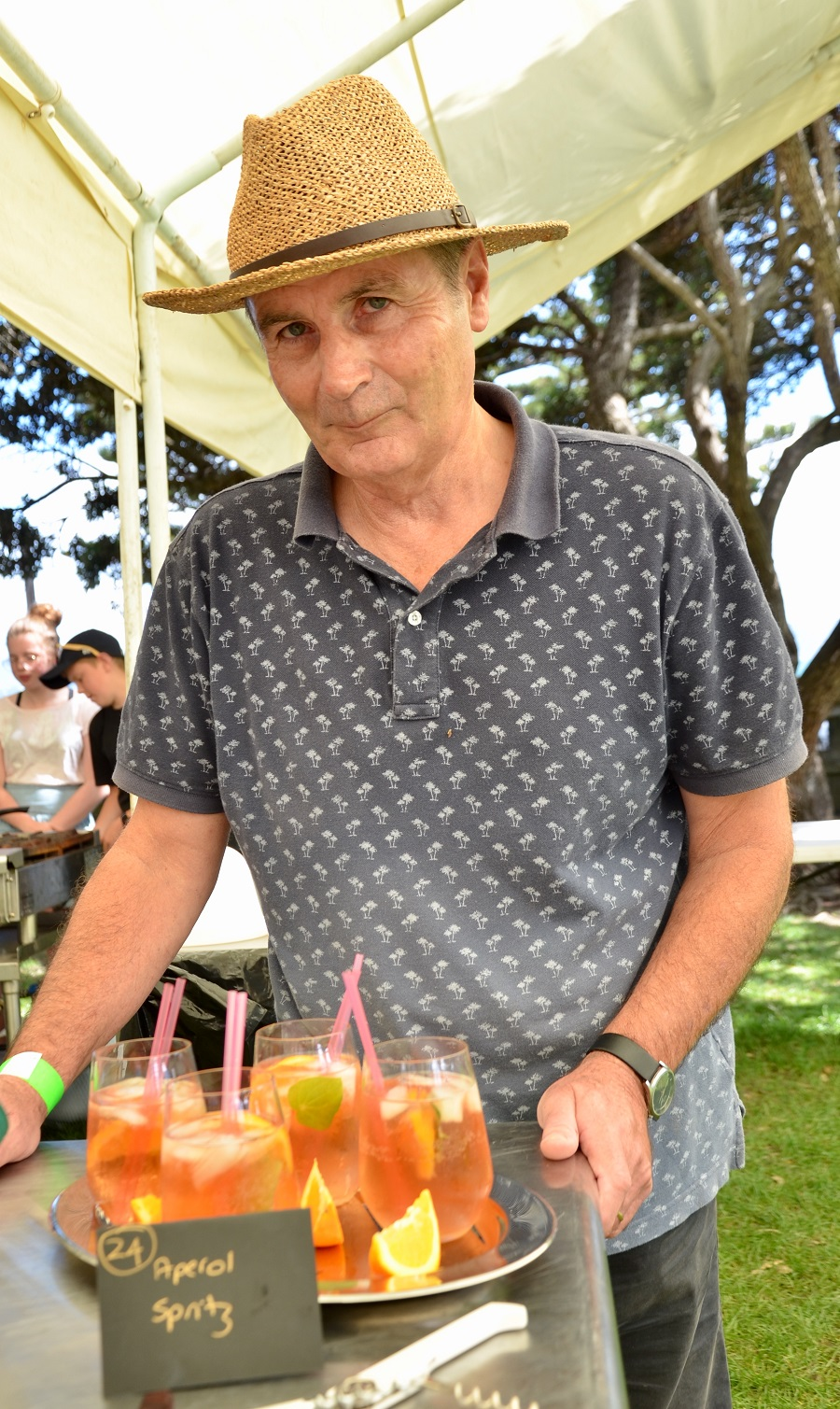 Best Story Craig Hunter Aperol Spritz A blend of four fruit and botanical wines: Quince, Rose petal, Rhubarb & Pear Cuvee as the spritz. Wild yeast & Kawakawa leaves