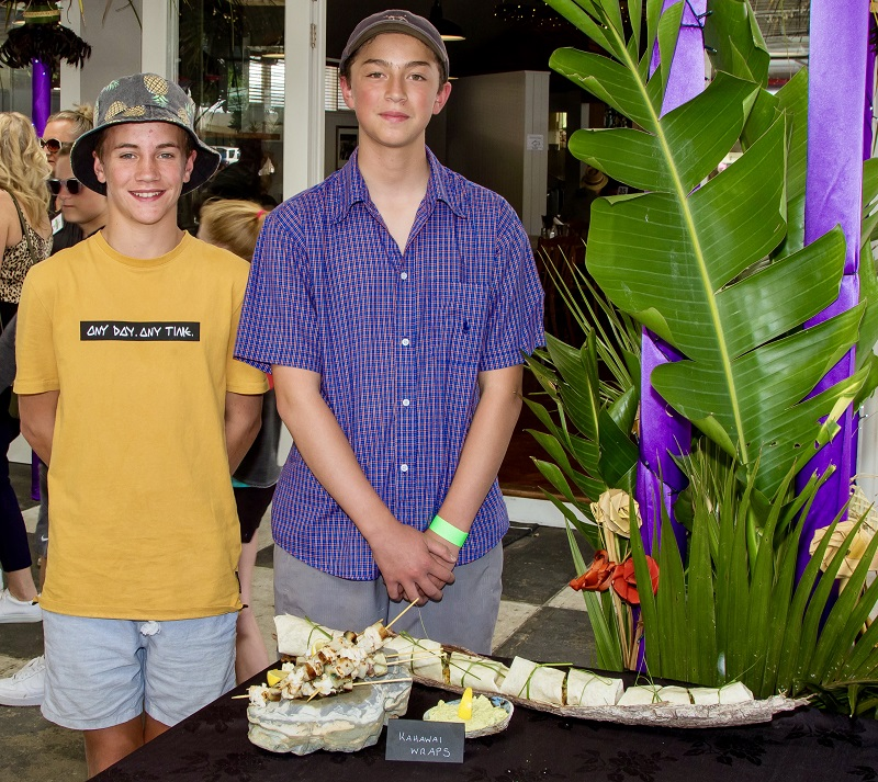 Grand Prize - Teenage - Noah Stock & Jack Kahawai wraps with Seafood Kebabs - Crayfish, Paul & Kahawai caught in Wellington harbour Served with Guacamole