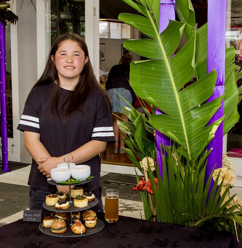 1st Runner up - Sasha McNeil (14yrs) 'Bush High Tea' Pukeko Pie Homegrown tomato, homemade mozzarella & pesto profiteroles Paua & homemade Haloumi Sliders Wild pork sausage rolls with hand made pastry & home grown tomato pesto Freshwater Wairarapa Koura roll with homemade lemon mayonnaise Foraged blackberry, homemade ricotta & local honey bruschetta Kawakawa brûlée