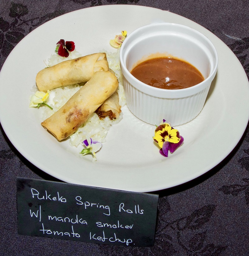 Best Use of Local Ingredient - Rohnon Dennis Slow cooked Pukeko Spring Rolls with wild mushrooms, tomatoes & pumpkin, served with wild Manuka smoked tomato ketchup & edible wild flowers